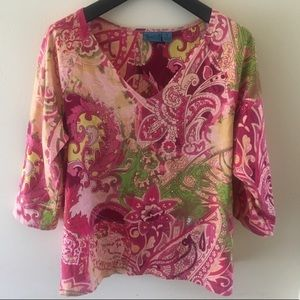 TeeCo V-Neck Sparkle Bright Colorful Top Size 1X